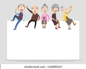 Vector cartoon illustration of group of old senior people sitting on empty text brochure. Happy grandparents character design.Vector illustration in cartoon flat style, isolated on a white background.