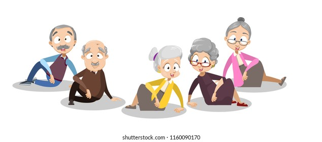 Vector cartoon illustration of group of old senior people sitting together on the floor. Happy grandparents character design. Vector illustration in cartoon flat style, isolated on a white background.