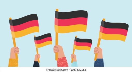 Vector cartoon illustration of Group of People Waving German Flags. Human hands on isolated background.