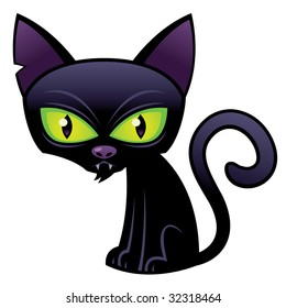 Vector cartoon illustration of a Halloween Black Cat with green eyes.