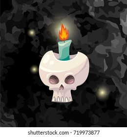 Vector cartoon illustration of Halloween human skull with flaming candle inside and flying lights on dark black texture background