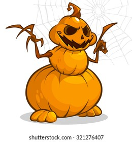A vector cartoon illustration of a Halloween scare crow snowman with hands.  Layered vector file available. Great for animation. All body parts are separated
