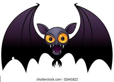 Vector cartoon illustration of a Halloween Vampire Bat with big orange eyes.