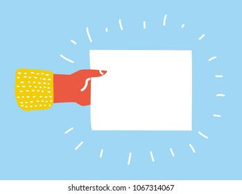 Vector cartoon illustration of Hand holding blank sheet of paper. Template blank sheet of paper.