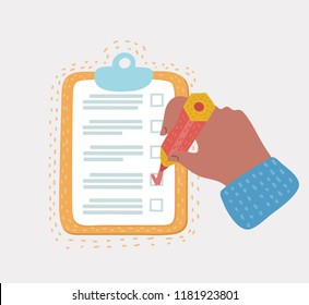 Vector cartoon illustration of hand holding clipboard with checklist and pencil. to-do list and planning project. Election, marketing, develop, questionnaire, inventory, checklist