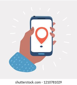 Vector cartoon illustration of Hand holds smartphone with city map gps navigator on smartphone screen. Mobile navigation concept. Geo location point. Modern concept on white background.