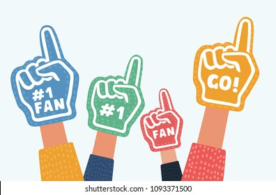 Vector cartoon illustration of Hand wearing foam finger in different colors isolated object on white background.