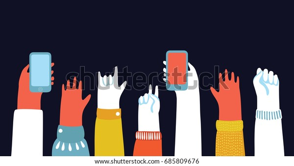 Vector cartoon illustration of Hands up in The Air and take photos on smartphones. fans at a concert. Colorfull horizontal banner on dark background