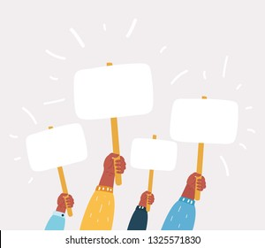 Vector cartoon illustration of Hands holding plate. Election Voting Poster. Blanc Banners on white.