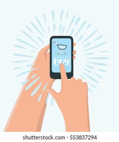 Vector cartoon illustration of hands holding smart phone with add to cart button. Online shopping by mobile web app