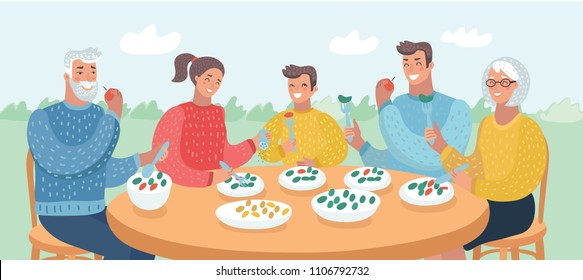 Vector cartoon illustration of Happy big family eating dinner together at table. Close up view of Human characters in garden summer. Three generation: mother, grandmother, father, grandfather, son