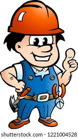 Vector Cartoon illustration of a Happy Construction Worker or Handyman
