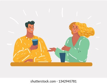 Vector cartoon illustration of happy couple is making funny faces in evening cafe. Human character on white background.