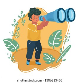 Vector cartoon illustration of Happy and curious little boy kid looking through binoculars. Understand the world by kids concept.