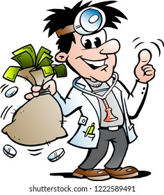 Vector Cartoon illustration of a Happy Doctor holding a Moneybag