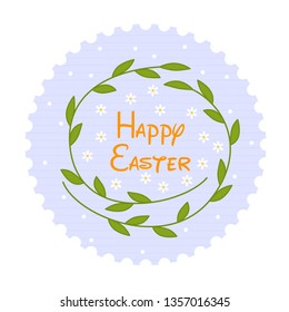 Vector cartoon illustration with happy easter and flower frame. Decoration element. Vector holiday frame. Beautiful happy easter, great design for any purposes. Greeting card design.