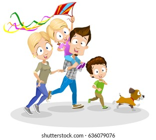 Vector cartoon illustration of happy family running with letting kite fly isolated on white background