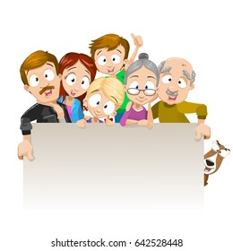 Vector cartoon illustration of Happy family posing together and holding banner for text. Group of six smile faces: parents with kids, grandmother, grandfather and dog