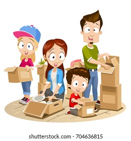 Vector cartoon illustration of happy family packing boxes in room. Moving concept illustration isolated on white background