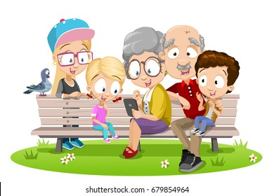 Vector cartoon illustration of happy grand parents with their grand children using tablet computer sitting at bench in park. Isolated on white background.