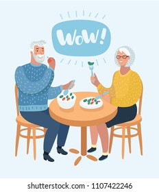 Vector cartoon illustration of Happy cartoon grandparents. An elderly couple are sitting in cafe and eating healthy tasty food. Wow speech bubble above. Human character on white background.
