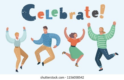 Vector cartoon illustration of Happy group of people jumping on a white background. The concept of friendship, healthy lifestyle, success. Female and Male characters.