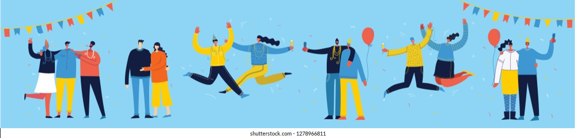 Vector cartoon illustration of Happy group of people celebrating, jumping on the party. The concept of friendship, healthy lifestyle, success, celebrating, party. Female and Male flat characters