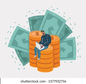 Vector cartoon illustration of Happy man sitting on coins and banknotes with laptop. Work and job succes concept.