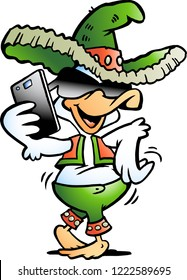 Vector Cartoon illustration of a Happy Mexican Duck talking in Smartphone