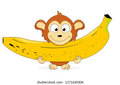 vector cartoon illustration of a happy monkey holding a huge banana