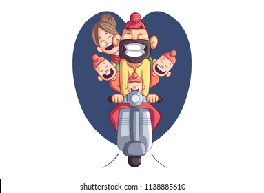 Vector cartoon illustration of happy punjabi sardar with his family sitting on scooter. Isolated on white background.