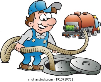Vector Cartoon illustration of a Happy Sewer Master, Vacuum Truck