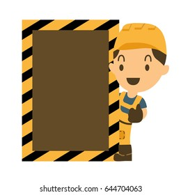 Vector Cartoon illustration of a happy smiling construction worker and thumb  with blank label.