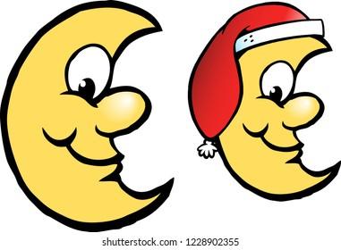 Vector Cartoon illustration of a Happy Yellow Christmas Moon