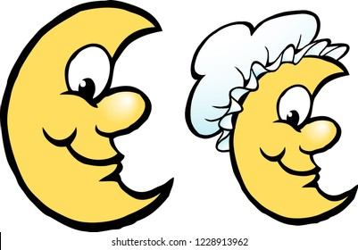 Vector Cartoon illustration of a Happy Yellow Moon with a Bonnet Hat