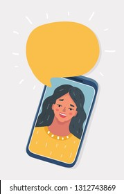 Vector cartoon illustration of Happy young woman talking on the phone with speech bubble. Isolated object on white background.