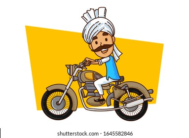 Vector cartoon illustration of haryanvi man riding motorcycle. Isolated on white background.