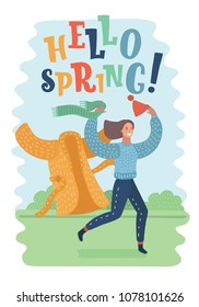 Vector cartoon illustration of hello spring quote. Cute happy girl with long hair run on green grass in spring park. Take off her warm clothes. End of winter, cold time of year.