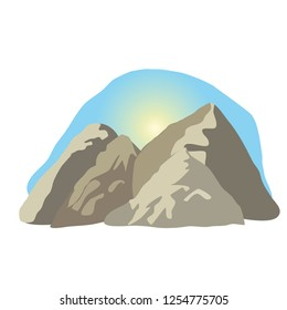 Vector cartoon illustration of a high mountain landscape - mountain view with sun and sky flat design and beautiful