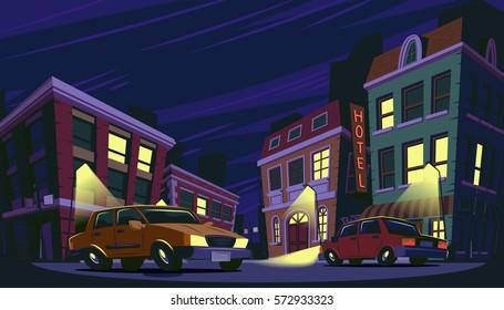 Vector cartoon illustration of the historic urban area