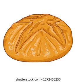 Vector Cartoon Illustration - Homemade Wheat Bread Loaf