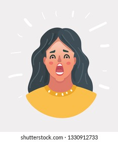 Vector cartoon illustration of Horrible, stress, shock, cry. Female portrait isolated. Young emotional surprised woman. Human emotions, facial expression concept. Face on white background.