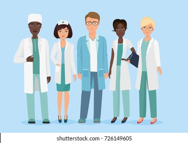 Vector Cartoon illustration of Hospital medical staff team, doctors and nurses characters. Medical concept.