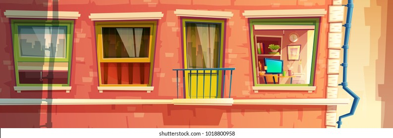 Vector cartoon illustration of house facade element, multistoried building, city apartments, outside wall with windows and balcony. Front view of brick dwelling with rain pipe and room inside