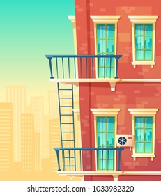 Vector cartoon illustration of house facade element, multistoried building, city apartments, outside view. Red brick wall of dwelling house with windows, balconies, ladder, and railing