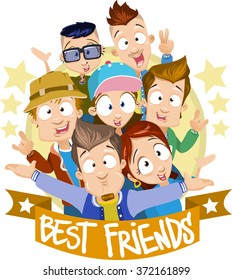 Vector cartoon illustration of hugging best friends. Characters wearing sportswear, enjoying hipster lifestyle, having great hairstyles. Characters are on the yellow circle background