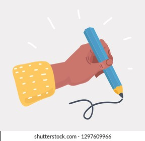 Vector cartoon illustration of Human Hand with pencil on white background.