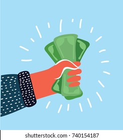 Vector cartoon illustration of human hand holding cash. Pay the US dollar. Colorful concept in modern style.