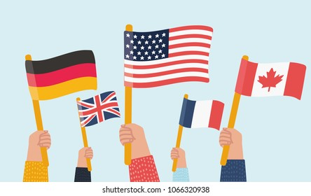 Vector cartoon illustration of Human hands holds Flag of different countries. Crowd in solidarity.