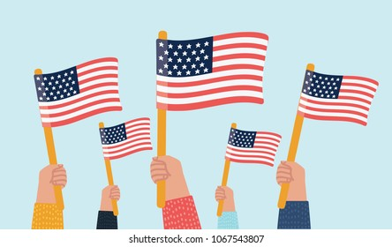 Vector cartoon illustration of human hands Holding Up American Flags